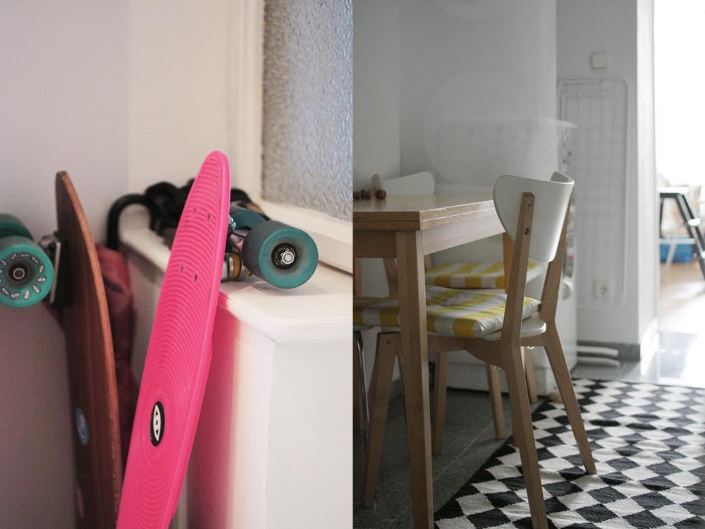 Skateboards gleich bei der Tür. Und: hier wird gefrühstückt, Mittag und Abend gegessen.