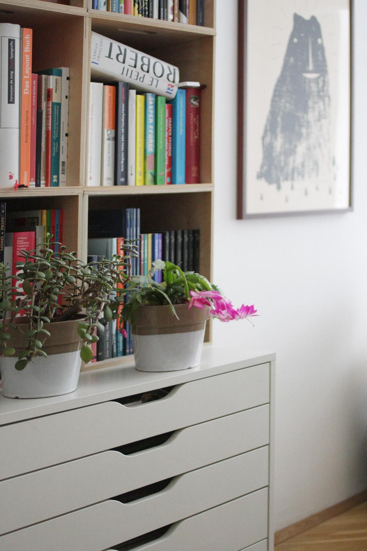 Sideboard für allen Kram und alle Comics und Bücher aus Ikea. Und: Blütezeit!