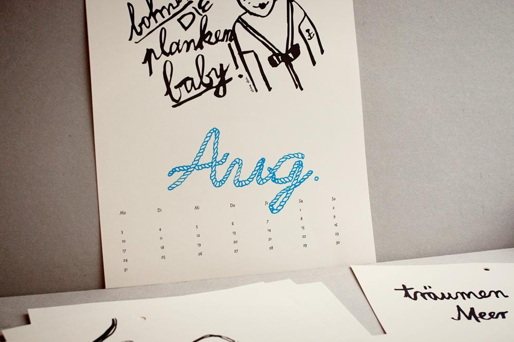 Innenseite August und Kalenderteil