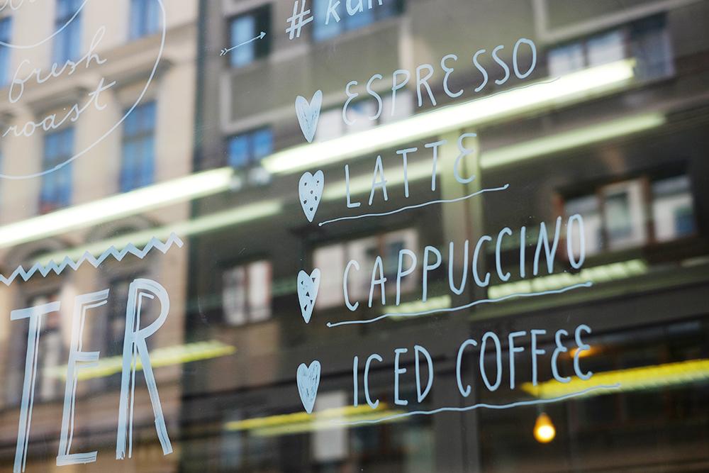 Espresso, Latte, Cappuccino, Iced Coffee und Herzen. Herzen sind immer gut <3